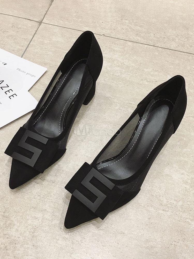 Black Block Heel Pumps Pointed Toe Low