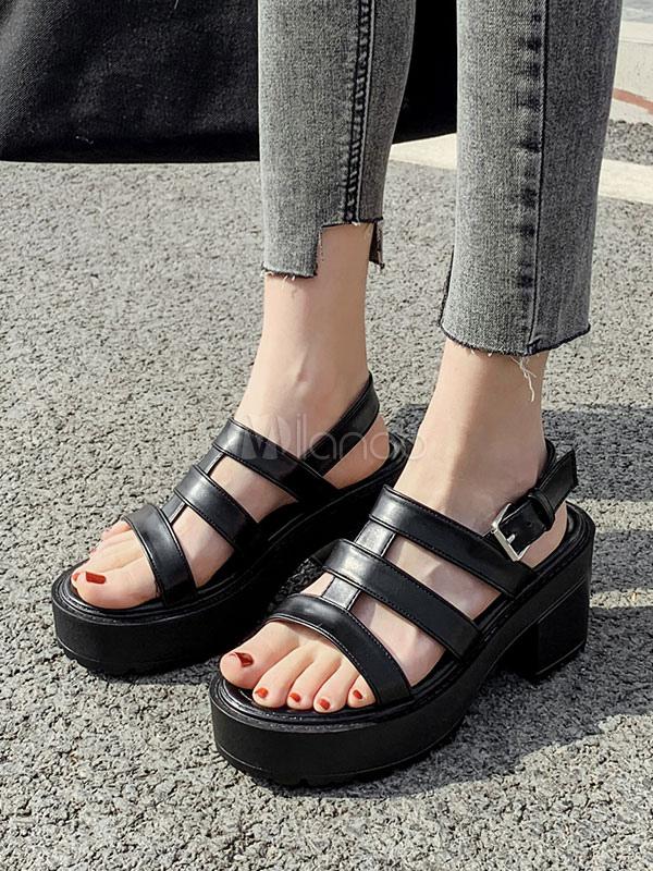 Balck Wedge Sandals Gladiator Sandals