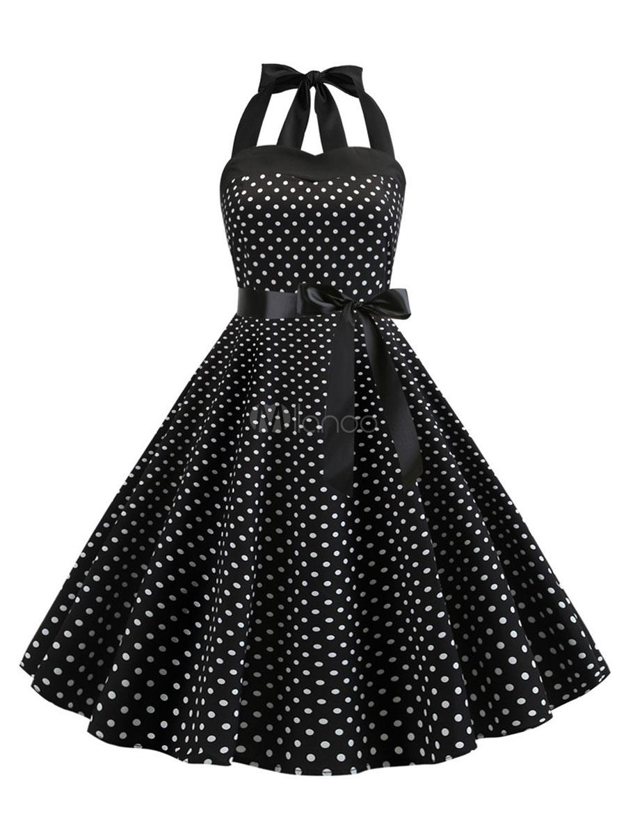Vintage Kleider Schwarz ärmellos 17er jahre mode Rockabilly kleid Polyester  Kleider im Retro-Style 17cm-17cm Damenmode