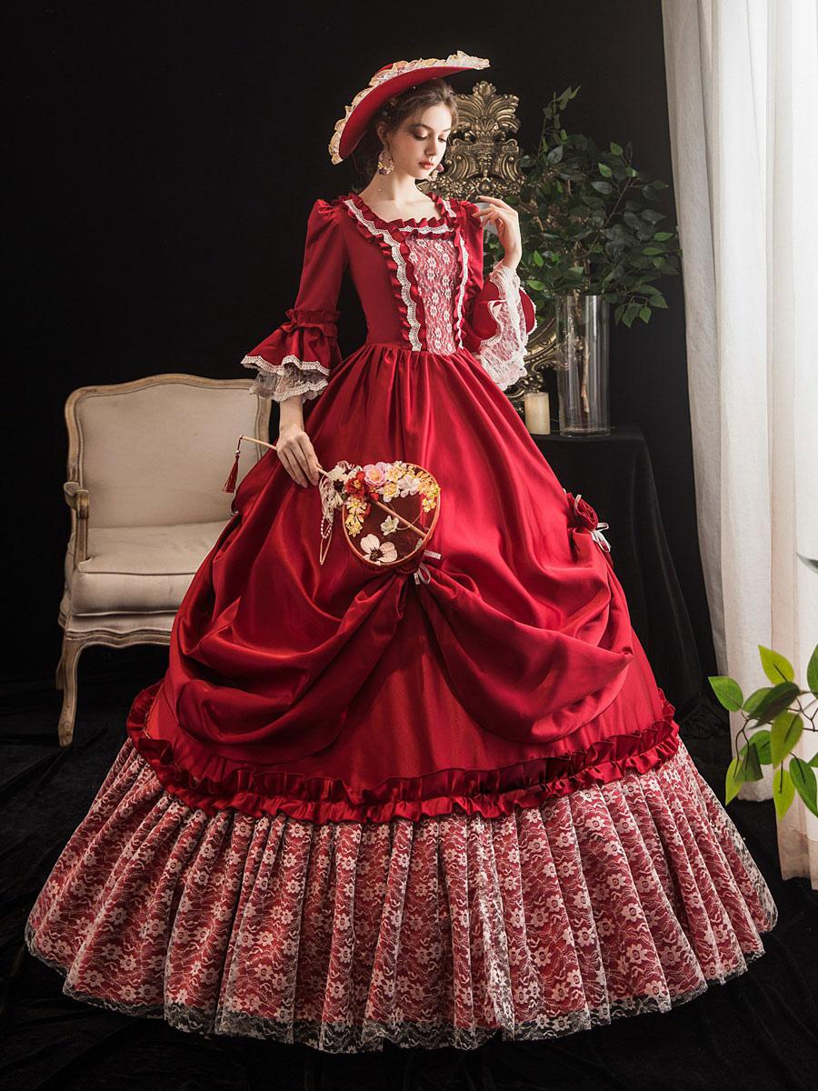 赤いビクトリア朝のレトロな衣装マリーアントワネットコスチュームドレスヴィンテージ服