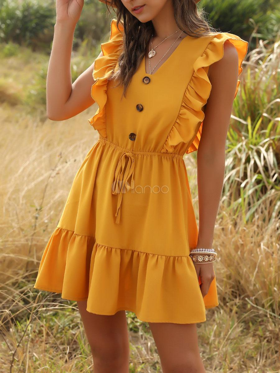 sommerkleider gelb damenmode knielang v-ausschnitt polyester kleider  ärmellos sommerkleid im casualen stil mit schnüren