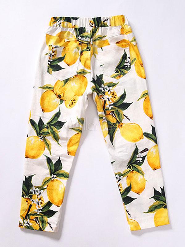 Pantalones De Ninas Pantalones De Estampado Floral De Primavera Para Ninos Amarillos Milanoo Com