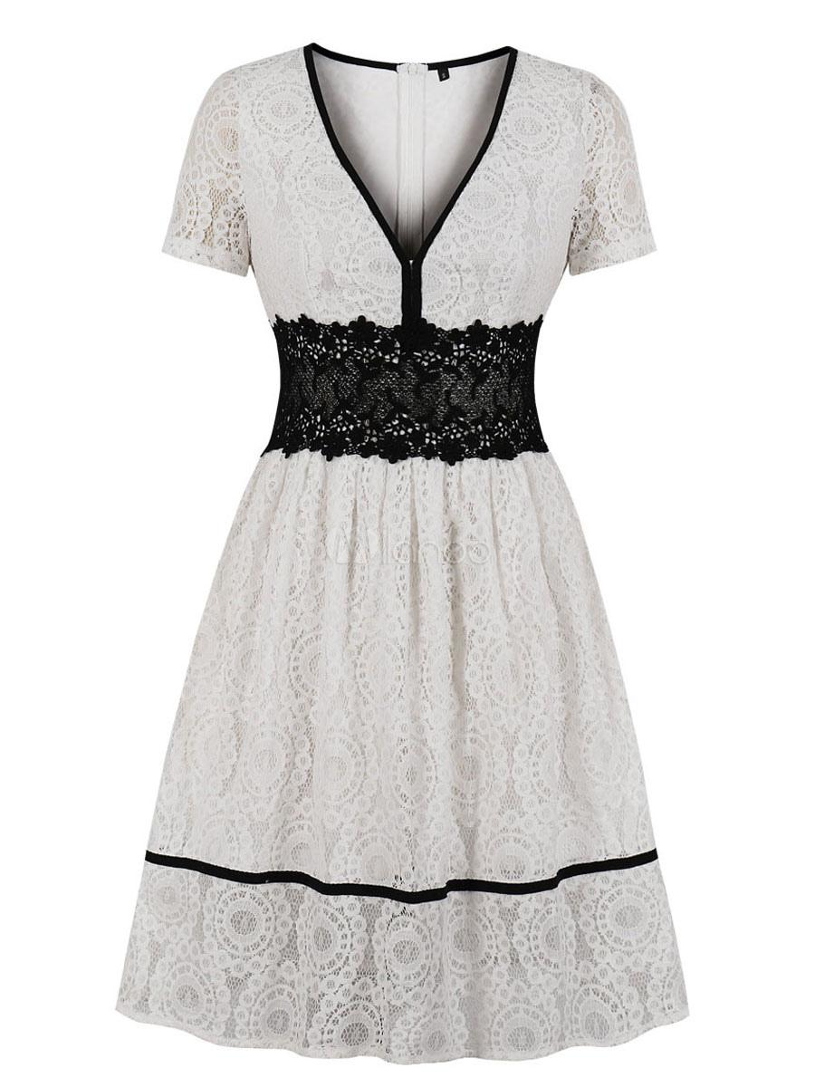 Spitze Vintage Kleid 13er Jahre Weiß Kurzarm V-Ausschnitt Swing-Kleid