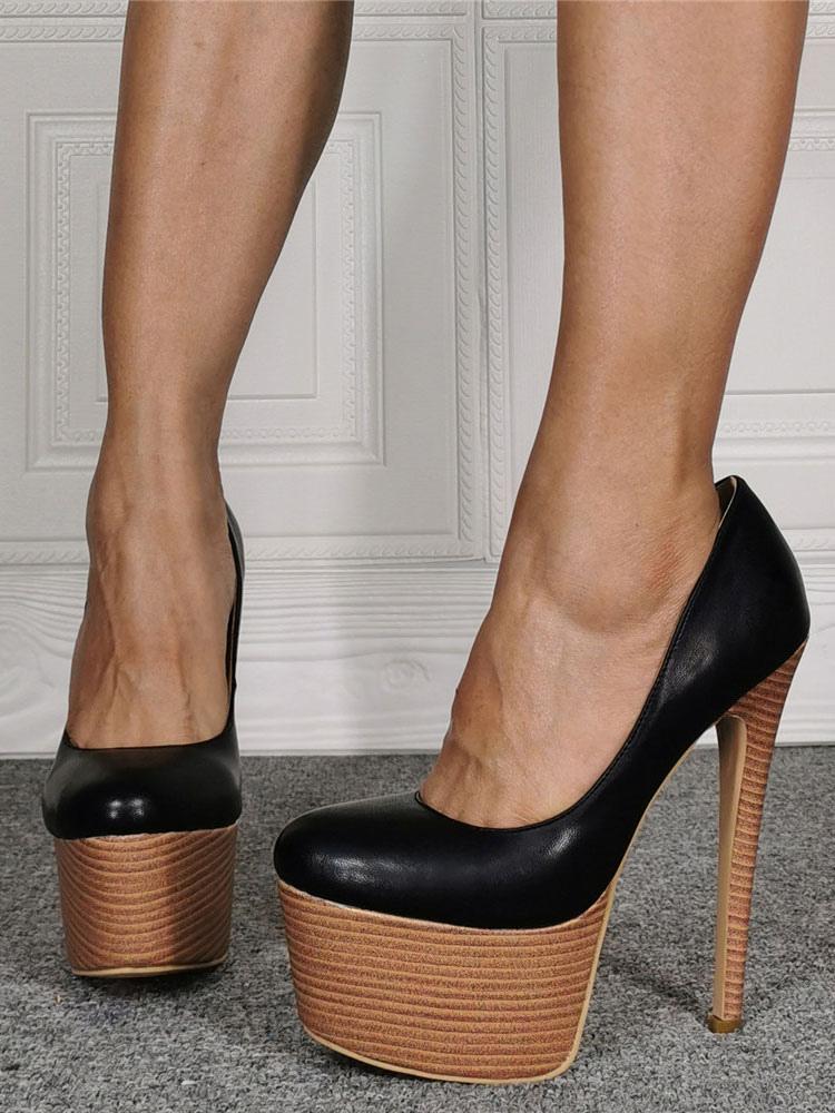 round toe heels black