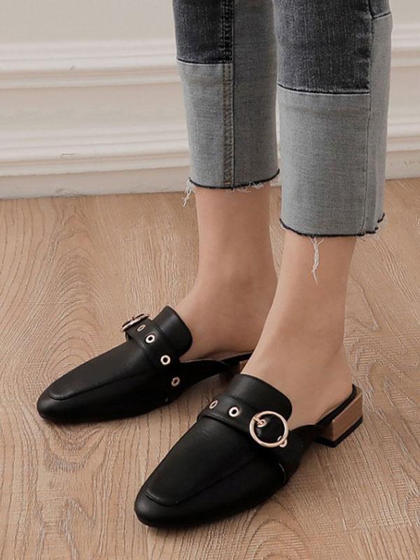 Women's Mules Clogs Leather Black Round Toe Slip-On Shoes - Milanoo.com