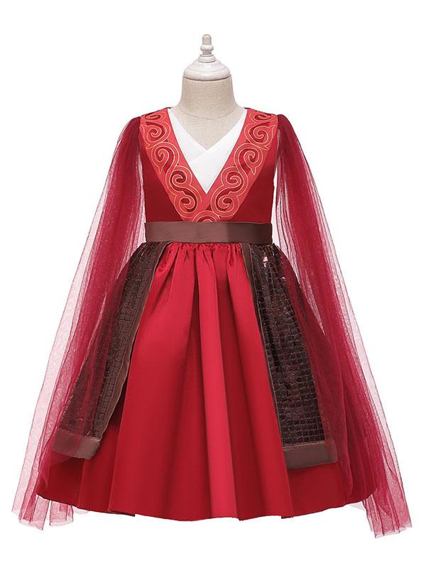 Mulan 2020 Girls Hua Mulan Cosplay Costume Red Dress For Kids Halloween Milanoo Com
