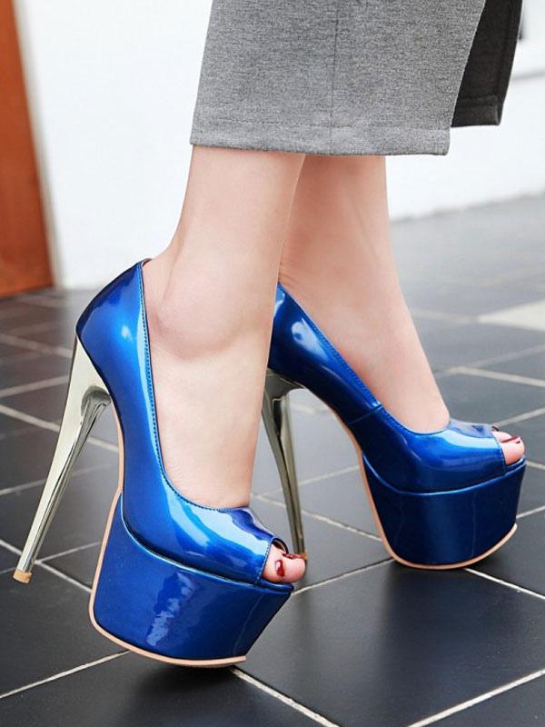 Women Sexy High Heels Blue Round Toe