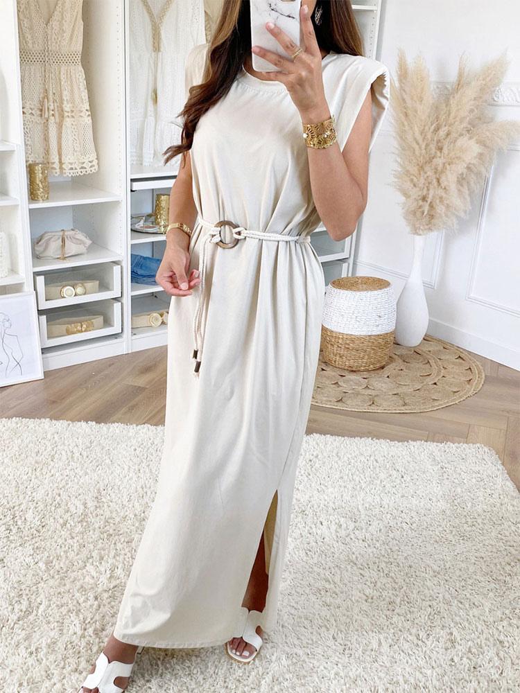 Robe Longue Blanche Robe Longue En Melange De Coton A Col Bijou Et Ceinture Fendue Milanoo Com