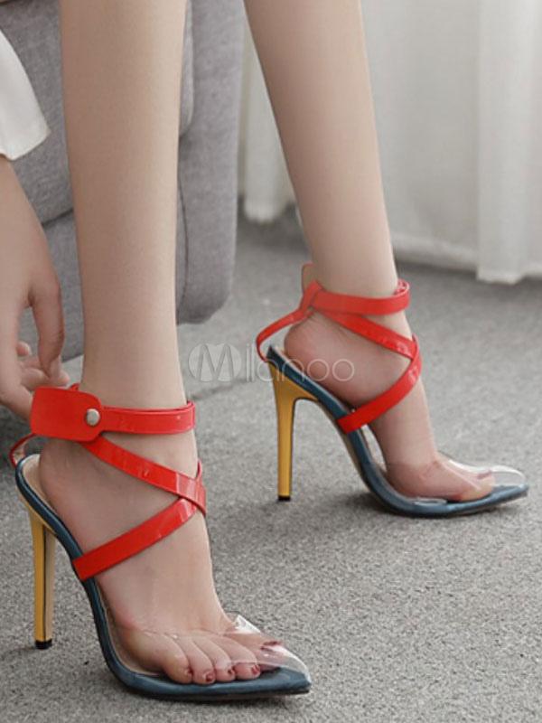 red pointed sandal heels