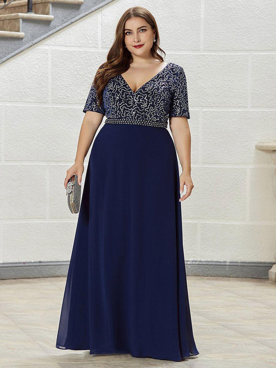 Abendkleid in Übergröße A-Linie V-Ausschnitt Bodenlange  Kurzarm-Backless-Chiffon-Sozialkleider