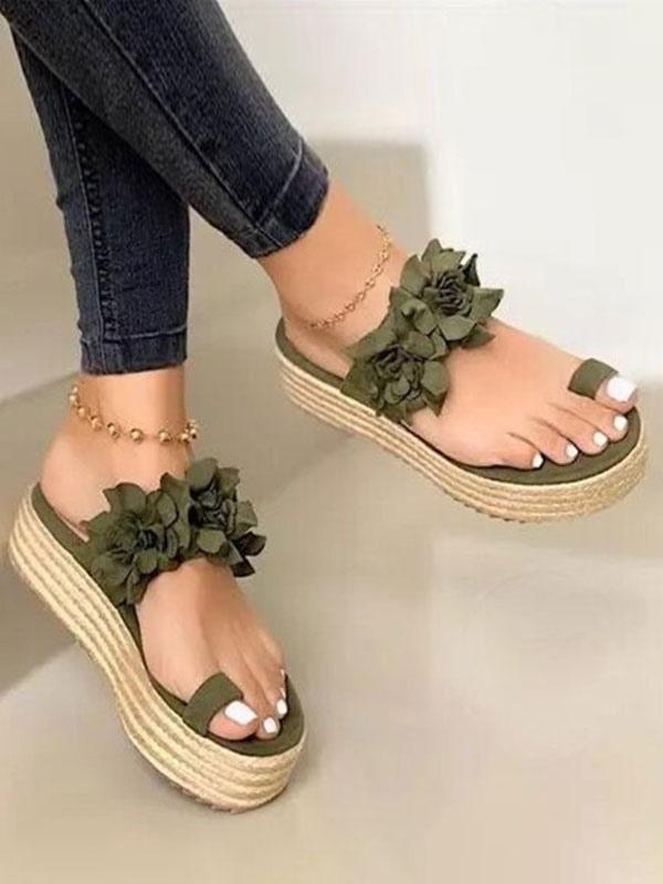 Women Flatform Slides Green Toe Loop
