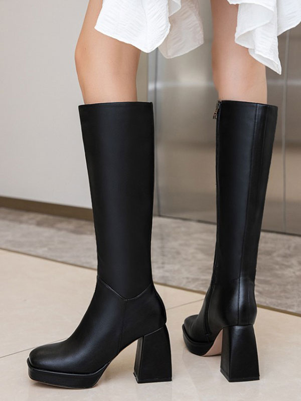 Knee-High Boots Cowhide Black Square