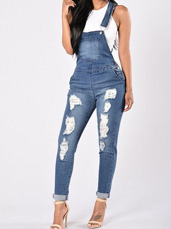 Pantalones De Mezclilla De Mezclilla Para Mujer Pantalones Rotos Milanoo Com