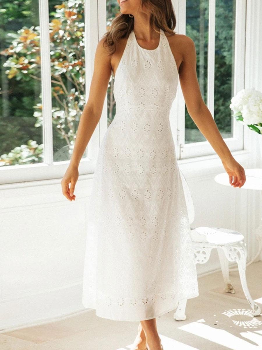 Lace Maxi Kleider Weißes Halfter Ärmelloses Schnür-rückenfreies langes Kleid