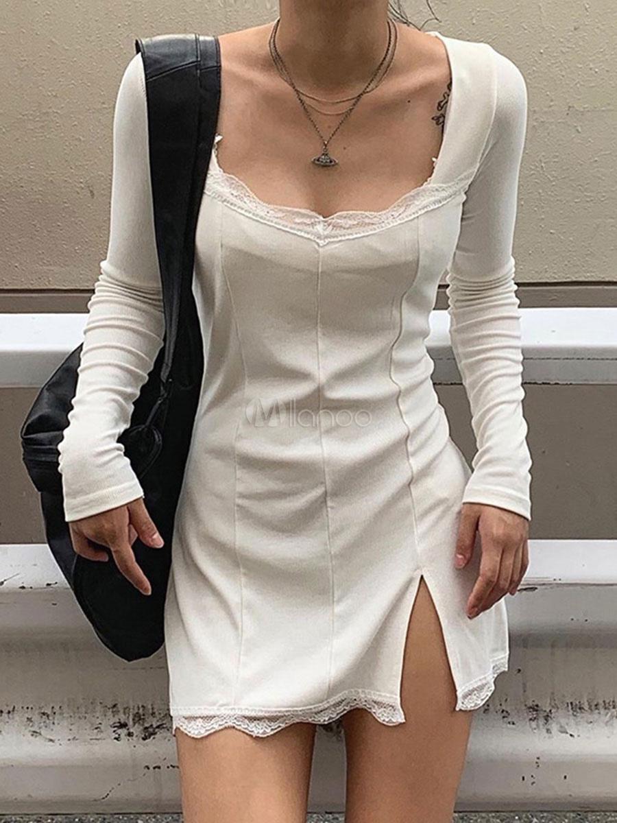 Bodycon Kleider weißes Quadrat-Ansatz-Spitze mit langen ...