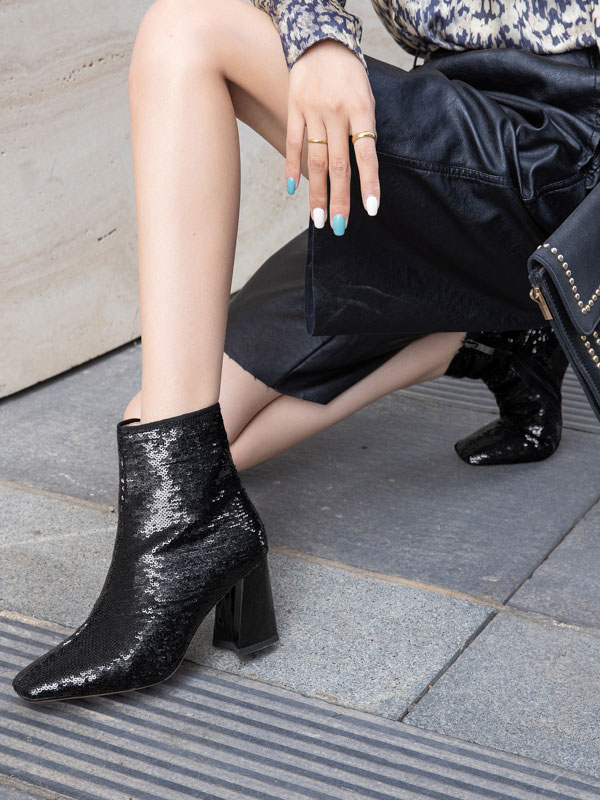 Women Ankle Boots Black Sequined Cloth