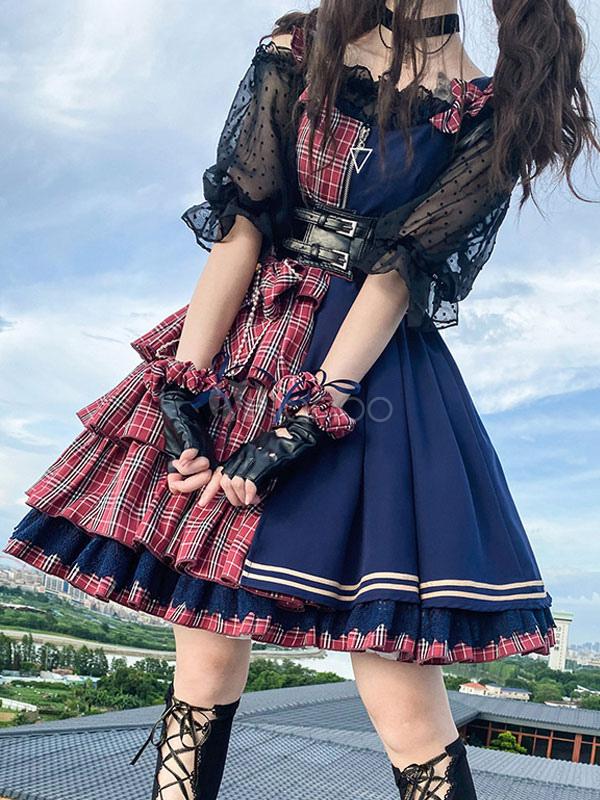 Idol Erklarung Lolita Jsk Kleid Zweifarbige Karierte Lolita Pullover Rocke Milanoo Com