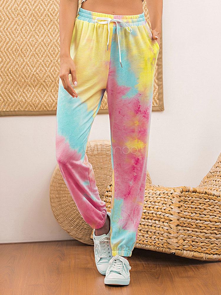 Women S Pants Joggers Pink Polyester Tie Dye Trousers For Women Milanoo Com