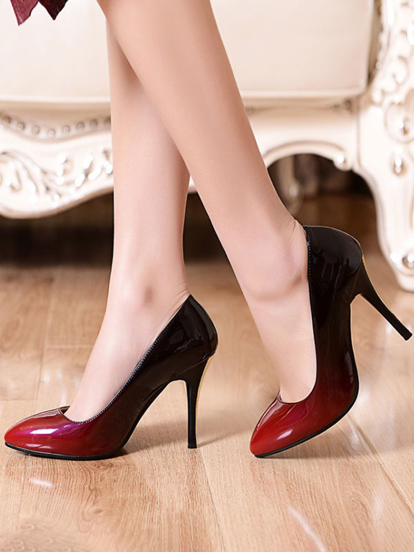 red and black ombre pumps