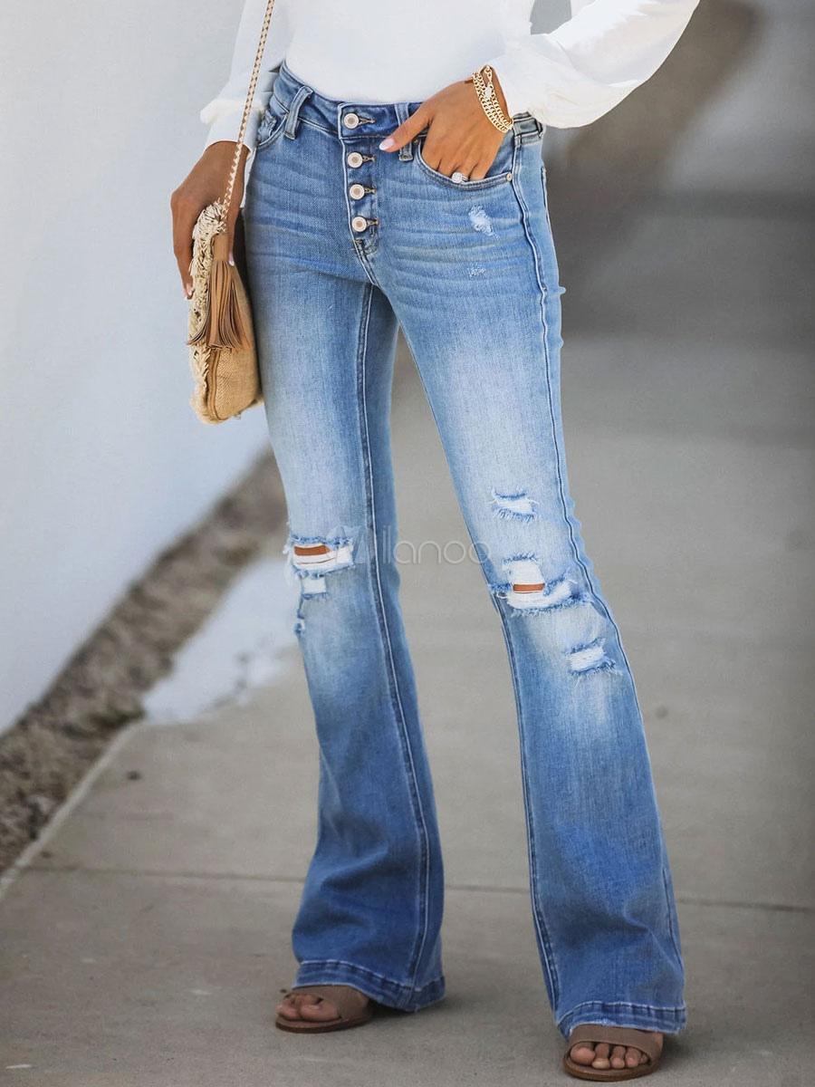 Blue Jeans Modernos Acampanado De La Vendimia De Las Mujeres Pantalones Vaqueros Rasgados Milanoo Com