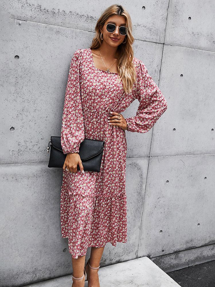 Boho Maxikleider Rosa Langarm Kleid mit Blumendruck ...