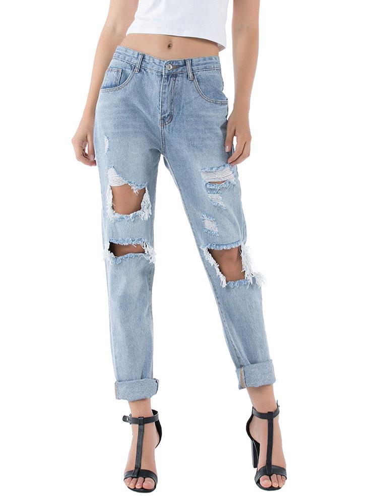 Moms Jeans Mujer Jeans Azul Claro Vaquero Algodon Cremallera Elevada Cintura Con Mosca Pantalones Sueltos Pantalones Vaqueros Rasgados Milanoo Com