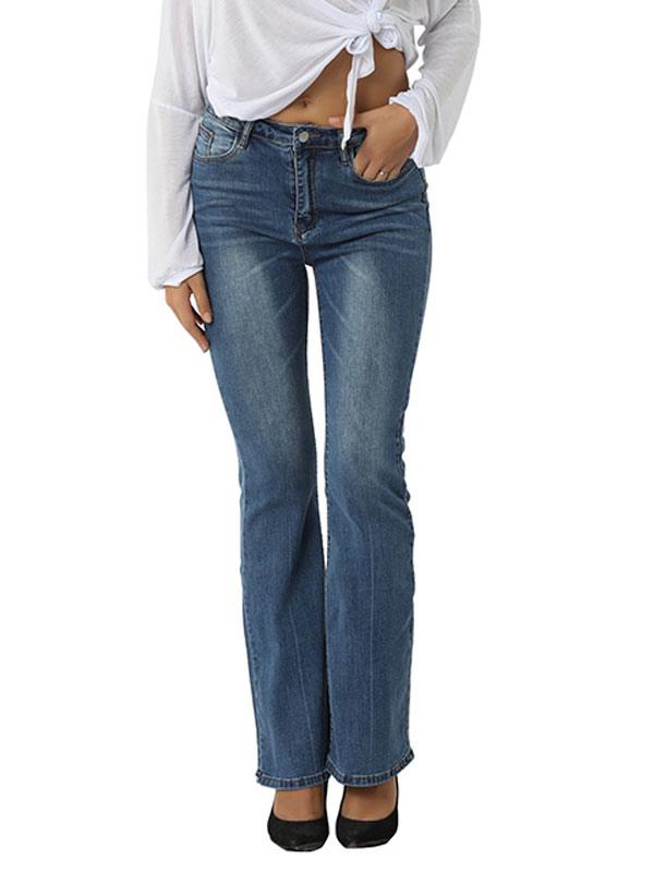 Pantalones De Mezclilla Azul Para Mujer Pantalones Anchos De Cintura Alta Con Cremallera De Vaquero De Algodon Pantalones Vaqueros Casuales Milanoo Com