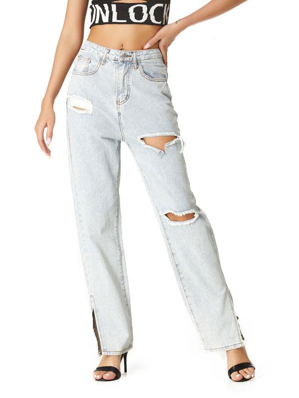 Mom Jeans Mujer Light Sky Blue Denim Pantalones Vaquero Poliester High Rise Zipper Fly Cintura Pantalones Sueltos Rectos Jeans Rasgados Milanoo Com