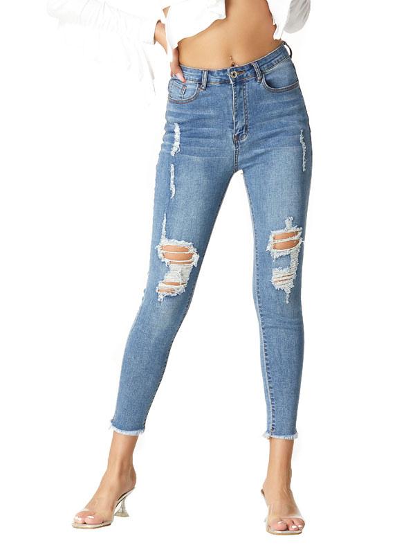 Mom Jeans Mujer Light Sky Blue Denim Pantalones Algodon High Rise Zipper Fly Cintura Tapered Fit Pantalones Rasgados Jeans Milanoo Com