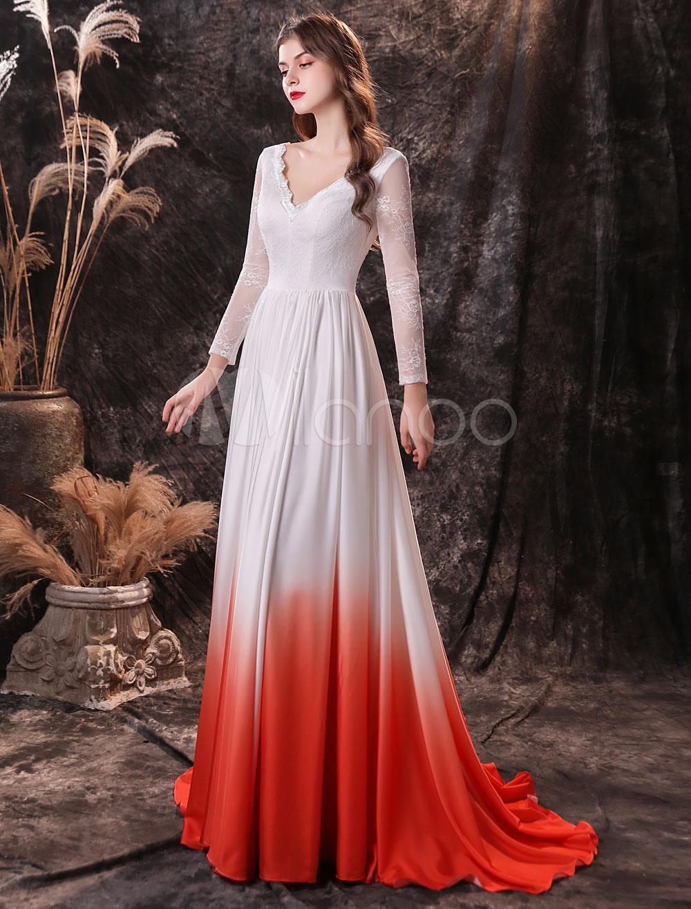 abendkleid orange rot a linie v hals chiffon mit zug social party kleider  lang festzug kleid