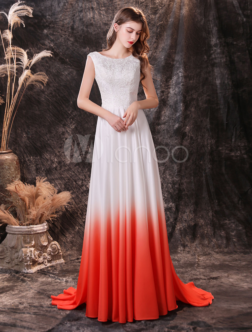 evening dress orange red a line jewel neck chiffon with train social party  dresses pageant dress