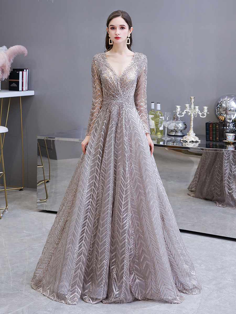 evening dress princess silhouette v neck long sleeve lace sequins floor  length social party dresses