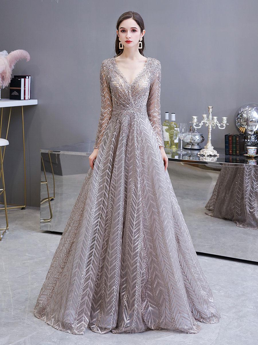 Abendkleider V-Ausschnitt Hochzeit Langarm Ballkleider Blushrosa Formelle  Kleider Spitze Prinzessin mit Reißverschluss Mit Schleppe 15cm und Spitzen