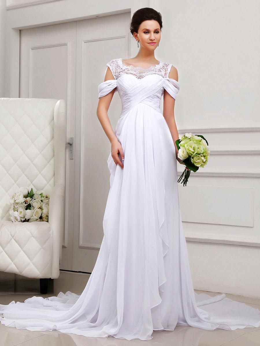 Robe de mariage blanche avec dentelle hors