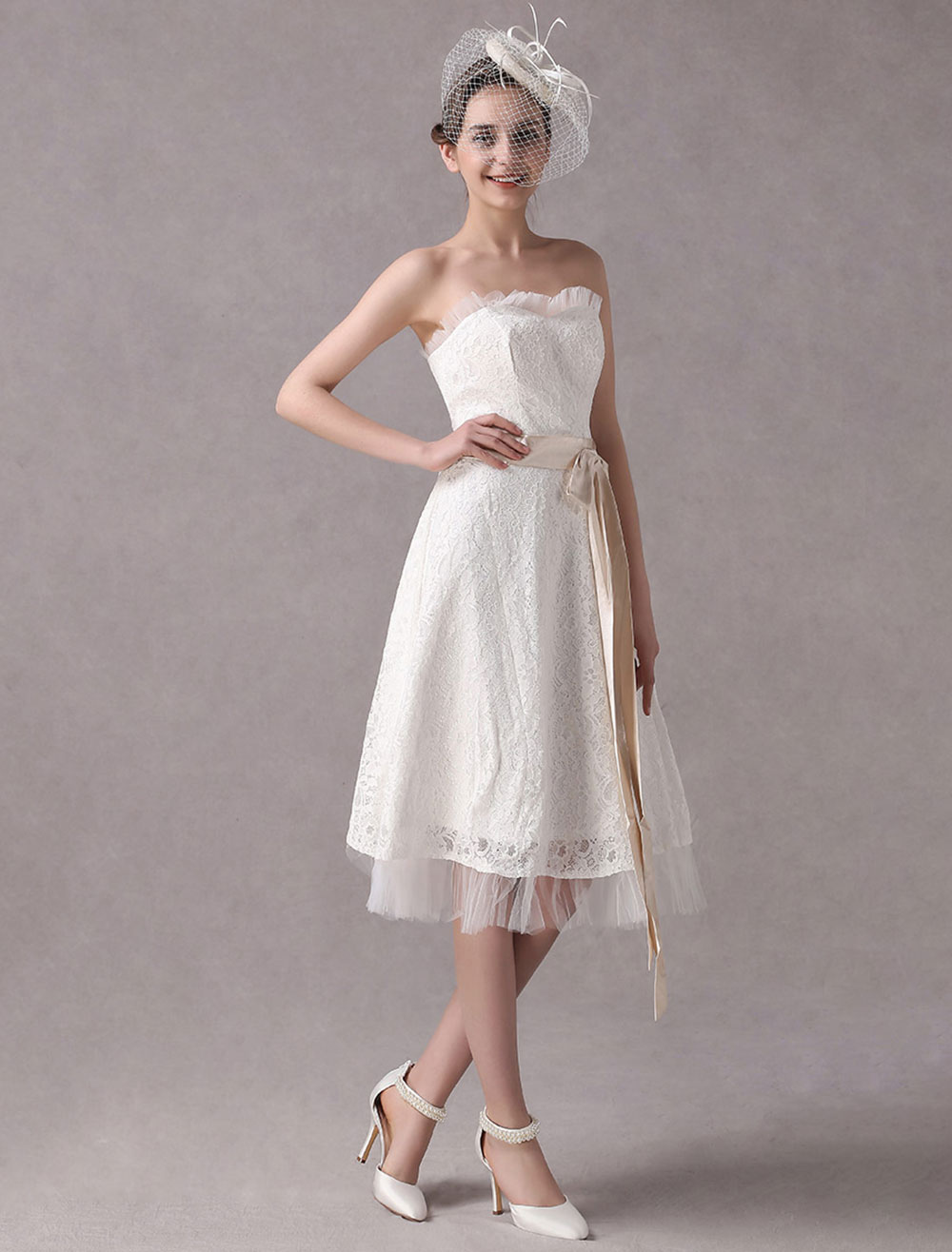 Short Simple Wedding Dresses Strapless Ivory Lace Bridal Dress