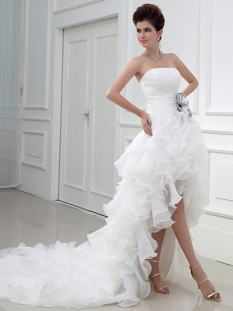 Ivory Wedding Dress Strapless High Low Bridal Dresses Summer Asymmetrical Organza Ruffles Tiered Flowers Satin Pleated Wedding Gown Milanoo Com