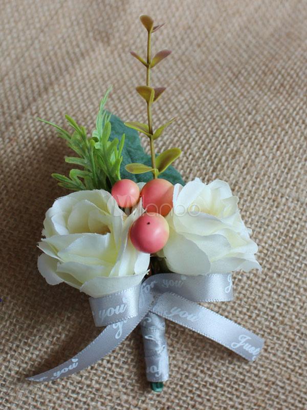 Fiori 5 Lettere.Prom Fiore Boutonniere Bianco Lettere Nastri Da Sposa Fiori