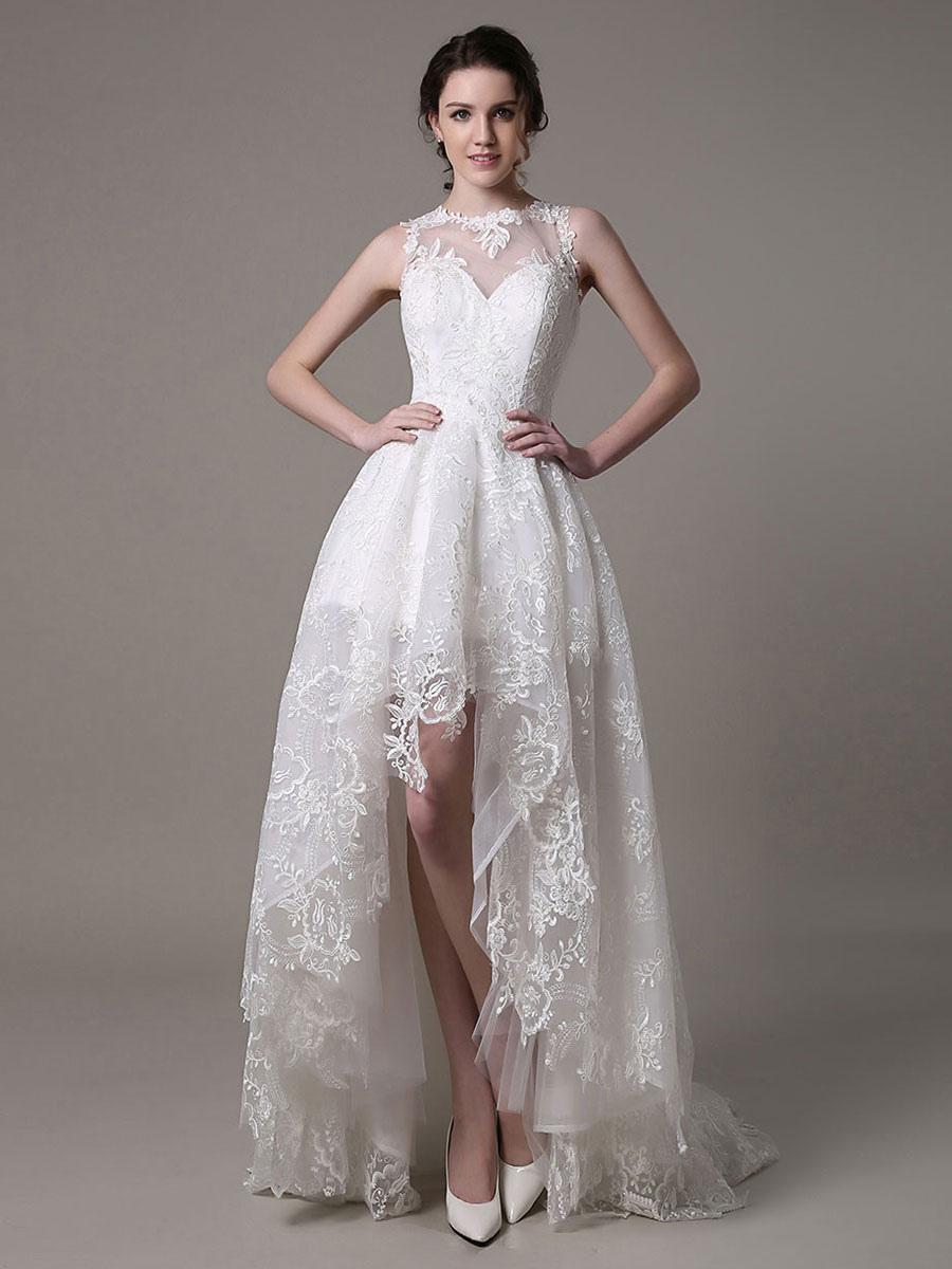 15 Brautkleid vorne kurz hinten lang mit Spitze Milanoo