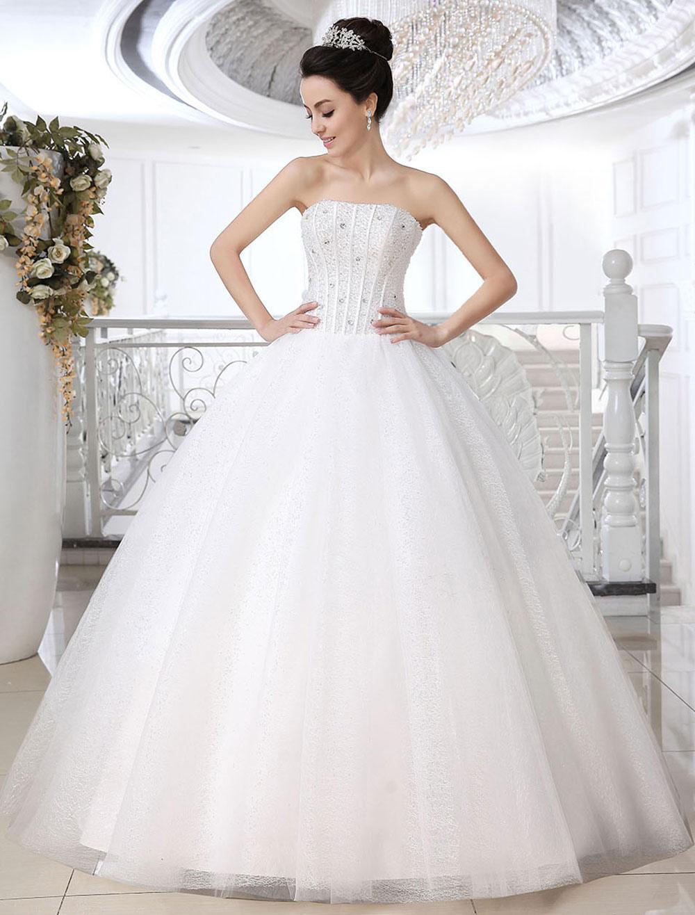 Abiti Da Sposa Moderni.Abito Da Sposa Bianco Moderno In Tulle Con Perline Senza Spalline