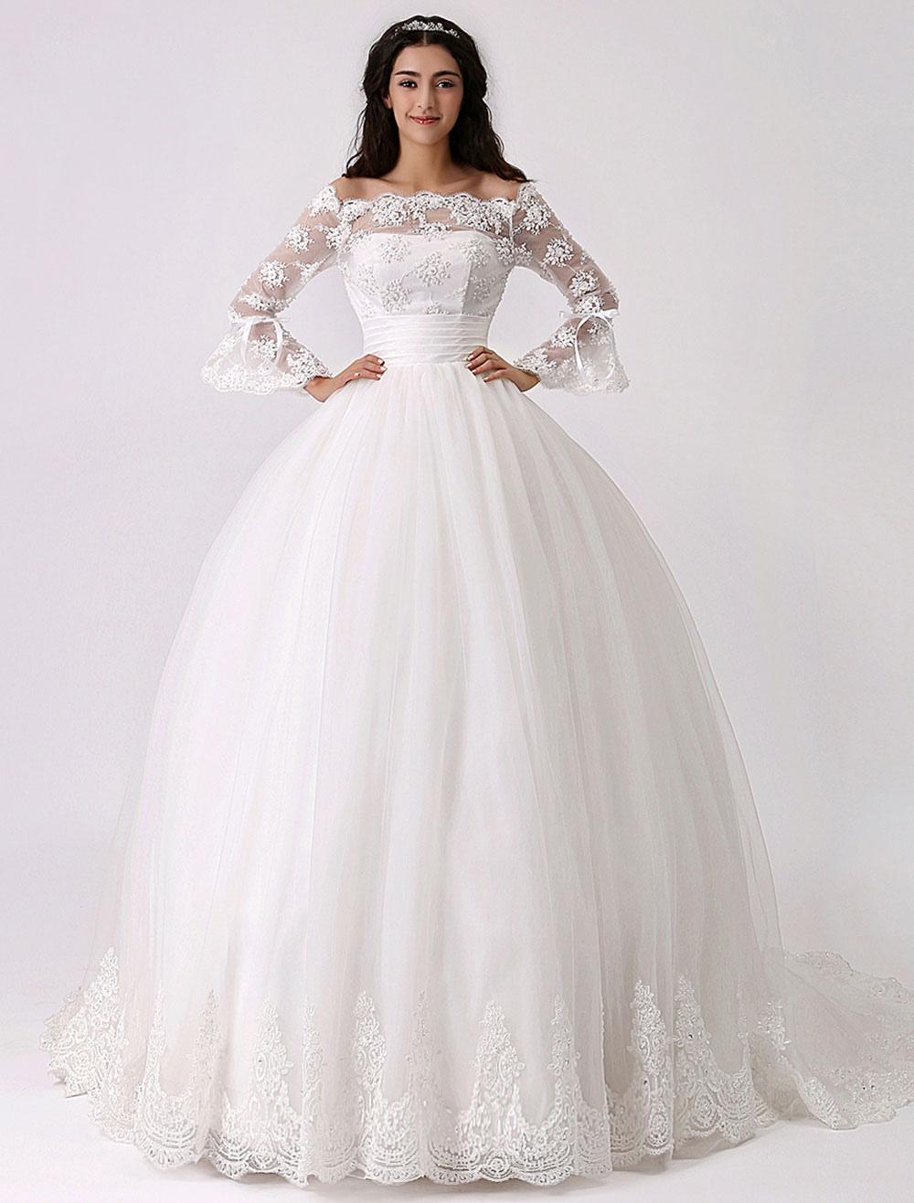 Brautkleider Prinzessin Elfenbeinfarbe mit Carmenausschnitt Brautkleider  Tüll und Court-Schleppe 10/10 Ärmel und Reißverschluss Prinzessin