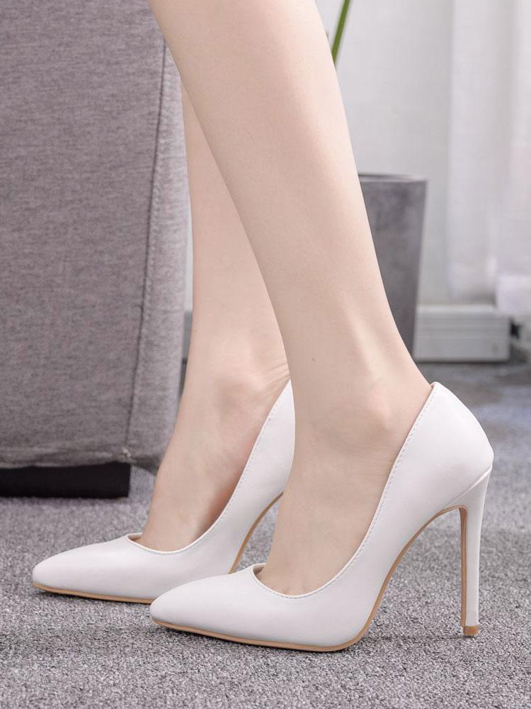 White High Heels Women Pointed Toe