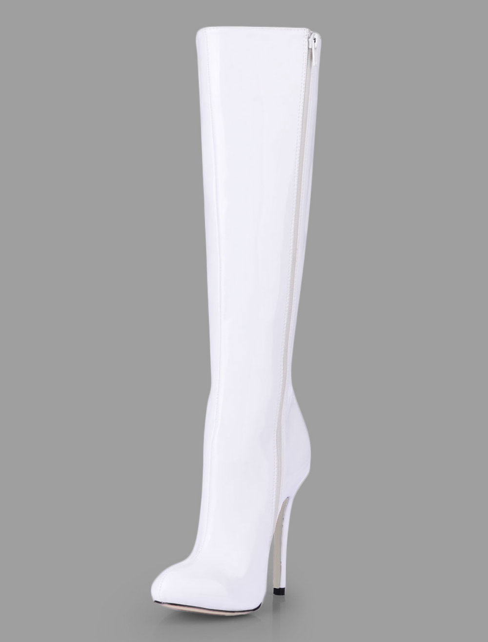 White Knee High Boots Pointed Toe Zip