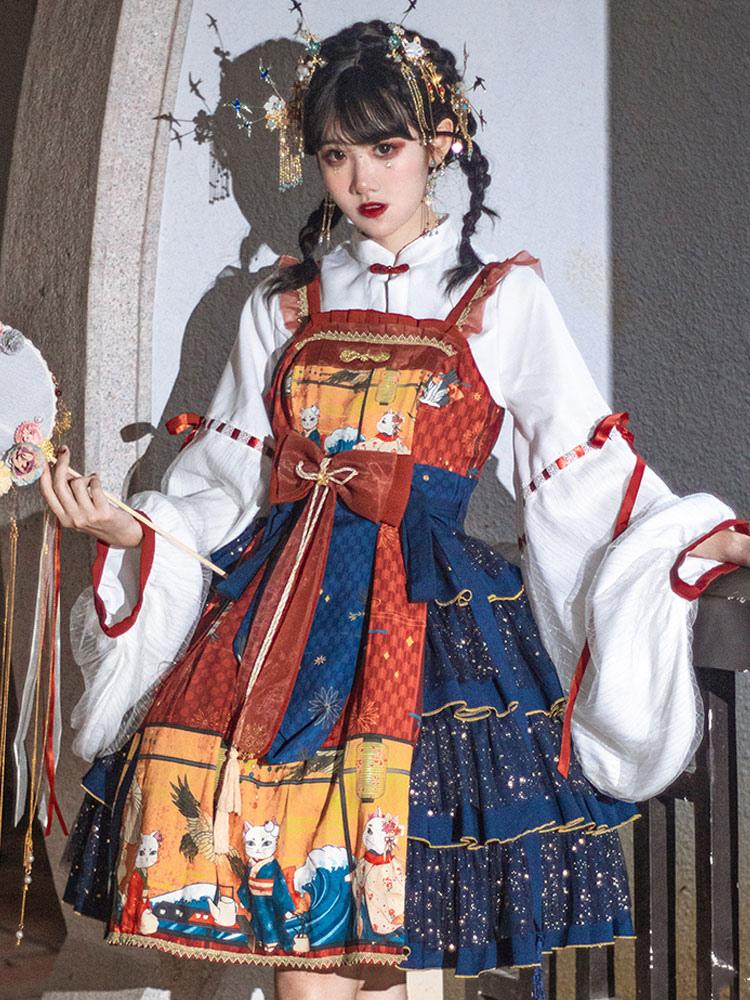 Chinesische Art Lolita Blusen Ukiyoe Weiß Langarm Schnür Lolita Top