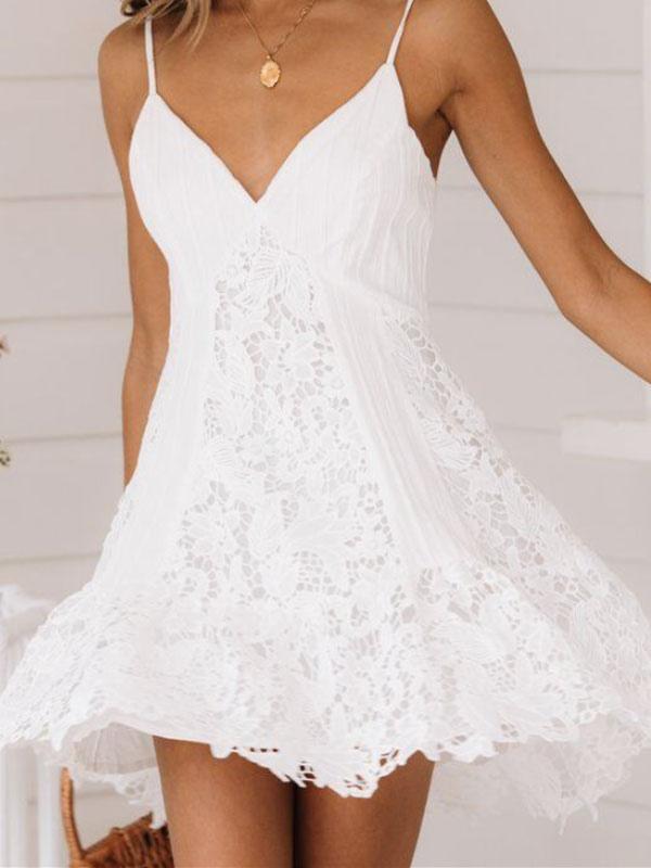 Sommerkleid Spitze rückenfrei weiß kurz Slip Kleid