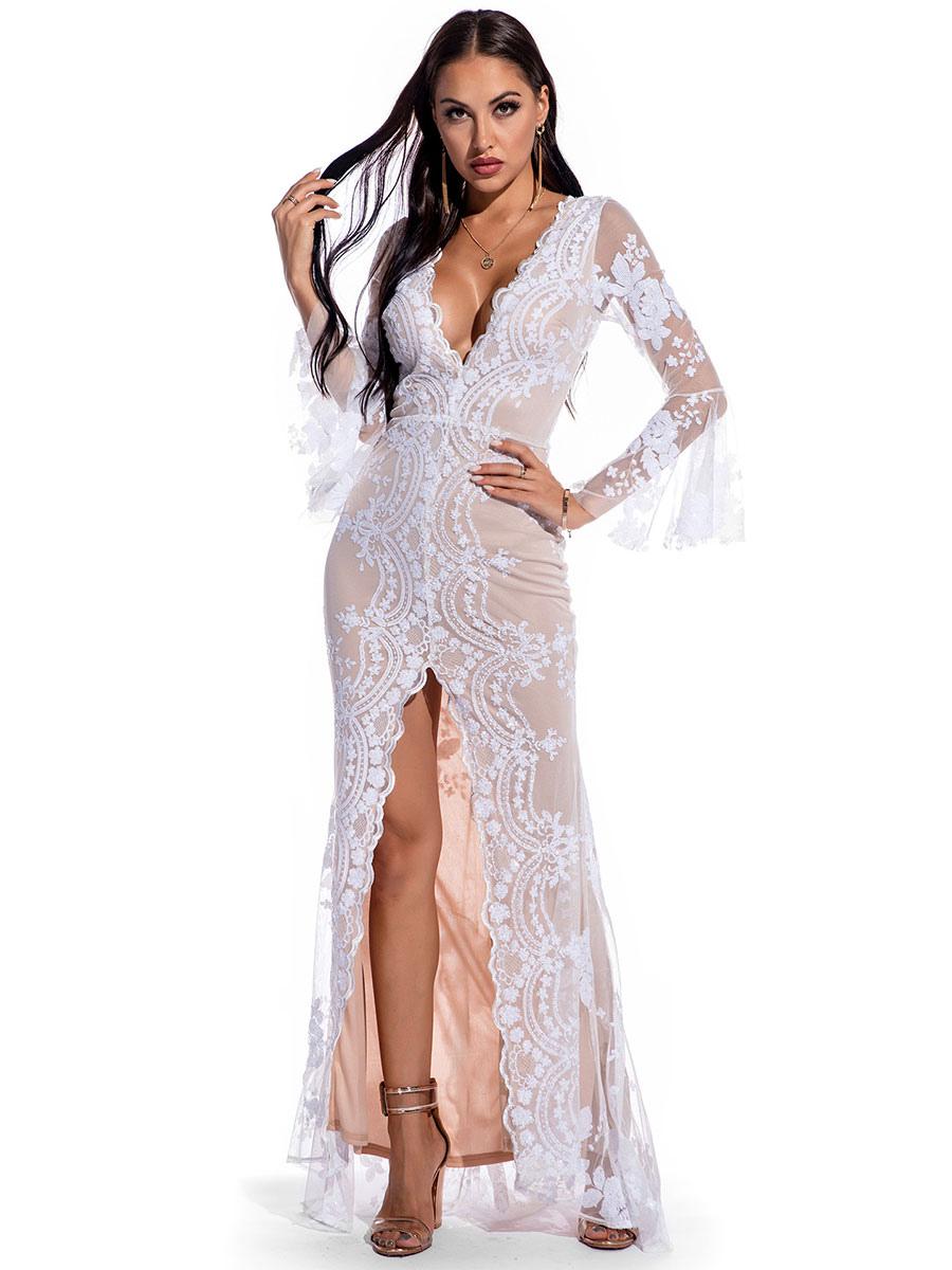 abendkleid weiß langarm polyester pailletten split kleider partykleid  spitze bodycon festzug kleid