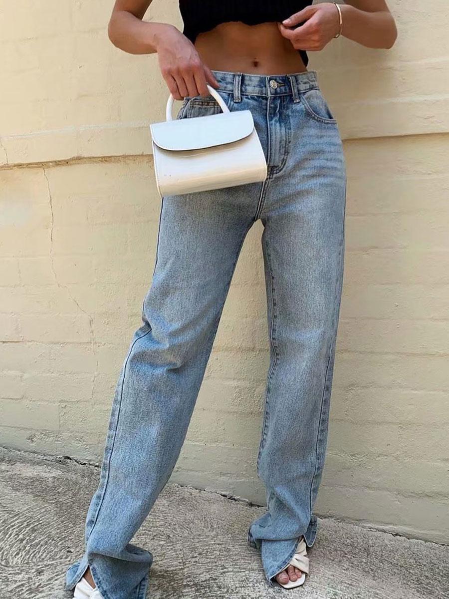 Moms Jeans Mujer Pantalones De Mezclilla Pantalones De Mezclilla Largos Con Botones De Algodon Azul Pantalones Rectos De Cintura Con Mosca Milanoo Com