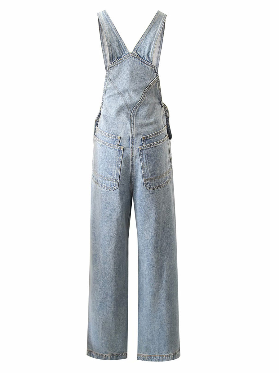 Monos De Mezclilla Para Mujer Pantalones De Tirantes Rectos De Cintura Elastica De Algodon Azul Monos De Vaquero Milanoo Com