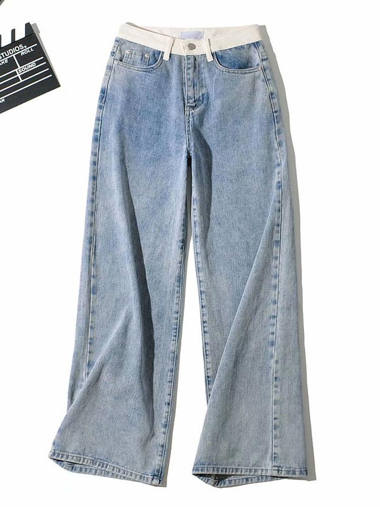 Moms Jeans Mujer Pantalones De Mezclilla Azul Algodon Moms Jeans Pantalones Anchos De Gran Tamano Pantalones Largos De Vaquero Milanoo Com