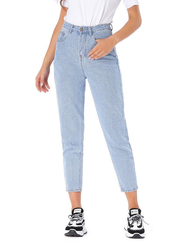 Pantalones De Mezclilla Para Mujer Pantalones Rectos De Cintura Alta De Poliester Azul Cielo Claro Pantalones Vaqueros Largos De Vaquero Milanoo Com