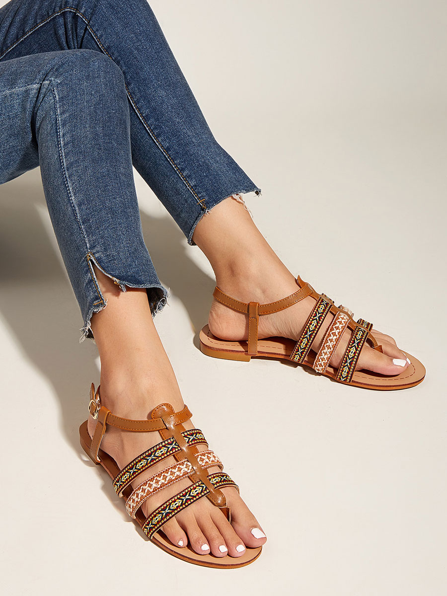 Womens Coffee Brown Gladiator Sandals PU Leather Round Toe Ankle Strap Daily Casual Sandals